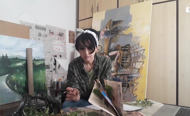 Walking Without Walls-May in her studio
